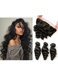 Daimer Loose Wave 3 Tissage with 4x13 Frontal Cheveux Humains Brésilien en lot pas cher Naturel 14 16 18 + 12 Frontal