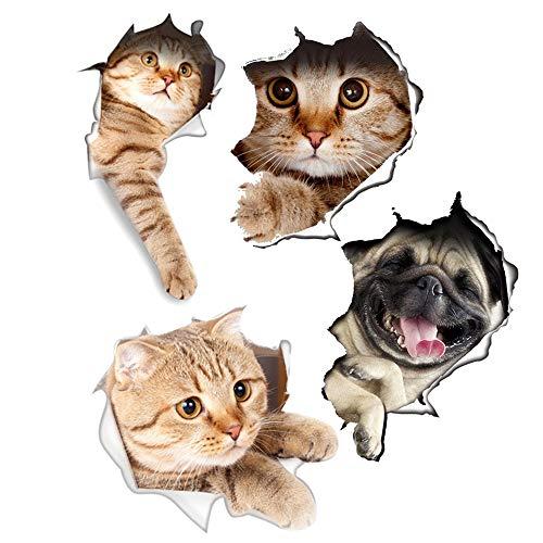oires Wanddekoration 3D gebrochene Katze Aufkleber abnehmbare Cartoon-Aufkleber für Wandnotizbuch-Toiletten-Küche 4pcs ()