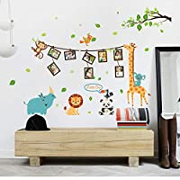 FUZILV Giraffe Panda Animal Photo Tree Frame Art Wall Stickers For Kids Rooms Kitchen Nursery Bedroom Decoration Diy Poster