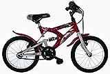 FREJUS Mountainbike mit 16 Zoll, Hinterradfederung Unisex, 1-Gang-Fahrrad, Rahmen aus Stahl in rot.