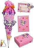 Unbekannt 4 TLG. Set: Bastelset Schultüte - 85 cm + Schulbox / Kreativbox + Mappe + Stundenplan - Schmetterling Blumen Mädchen - Zuckertüte Roth Schule Basteln Malbox f..