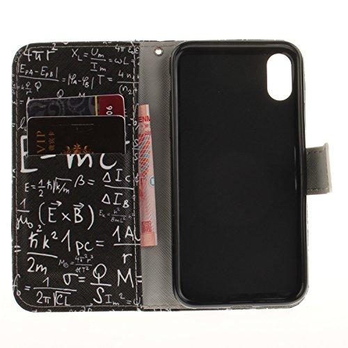 iPhone X Hülle,Vandot 3D Magnetverschluss Schutzhülle Weich PU Leder Flip Tasche Handyhülle Case mit Integrierten Kartensteckplätzen und Ständer für iPhone X (iPhone 10 5,8 Zoll) Innen TPU Silikon Cov Formel