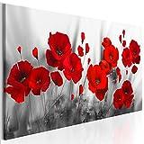 decomonkey Bilder Blumen Mohnblumen rot 150x50 cm 1 Teilig Leinwandbilder Bild auf Leinwand Wandbild Kunstdruck Wanddeko Wand Wohnzimmer Wanddekoration Deko Natur Weiß modern