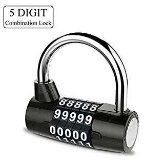 YoungRich 5 Digit Combination Lock Padlock Set Waterproof Antirust Resettable for Outdoor Gym School Office Home Bicycle Suitcase Luggage Backpack Storage Toolbox Cabinets Black