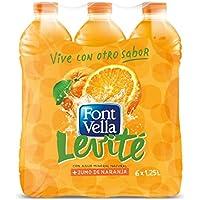 Font Vella Levité Agua Mineral con Zumo con Naranja - Paquete de 6 x 1250 ml - Total 7200 ml