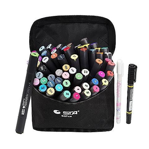 STA 60 Farben Dual Tips Kunst Grafik Zeichnung Malerei Marker