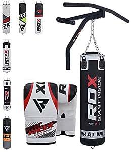 RDX Sacco da Boxe Pieno Arti Marziali MMA Sacchi Pugilato Kick Boxing Muay Thai con Supporto Barra Trazioni Muro Guantoni Allenamento Catena 5FT Punching Bag Set