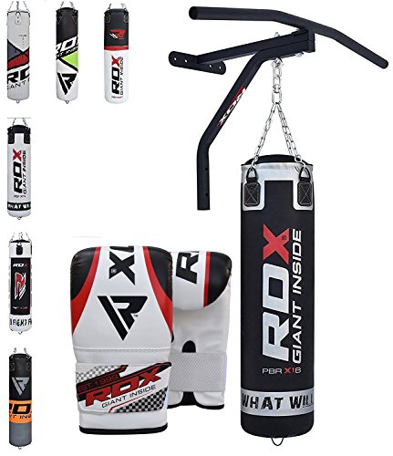 RDX Sac de Frappe Barre Traction Rempli support Mural Lourd MMA Punching Ball Muay Thai Arts Martiaux Kickboxing Boxe Gants Chaine Suspension Punching Bag