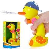 Aisi kinder baby Wasserpistole Ente mit Wassertemperatur Messfunktion Badespielzeug Wasserspielzeug Badewannenspielzeug Wassermühle Spielzeugpistole pädagogisches Spielzeug süß gelb