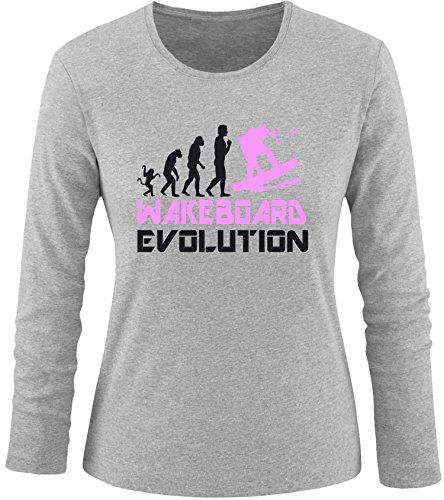 EZYshirt® Wakeboard Evolution Damen Longsleeve Grau/Schwarz/Rosa