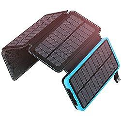 ADDTOP Chargeur Solaire 25000mAh Power Bank Imperméable Portable Batterie Externe avec 2 USB Ports Output pour iPhone, iPad, Samsung, Huawei, Tablette et Autres