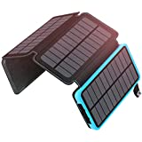 ADDTOP Solar Charger 25000mAh, Portable Power Bank with 4 Solar Panels 2 USB Ports Battery Pack Phone Charger for iPhone, iPad, Samsung, Smartphone and Tablet IP65 Waterproof