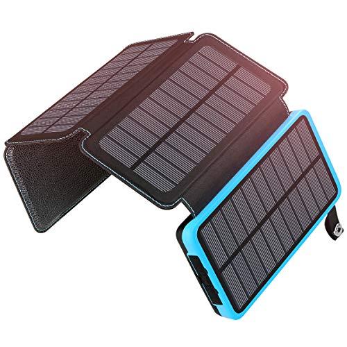 Cargador solar de alta capacidad 25000mAh Le permite cargar sus dispositivos eléctricos en cualquier momento y en cualquier lugar bajo la luz del sol. Es lo suficientemente potente como para cargar un iPhone X / 8 por encima de 10 veces, iPhone 6s ha...