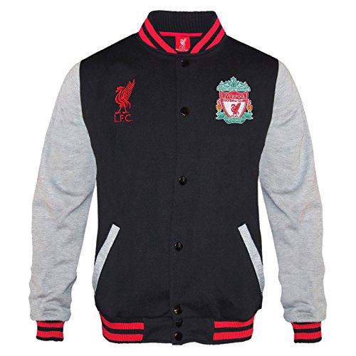 Liverpool FC - Chaqueta deportiva oficial para hombre - Estilo béisbol americano - Negro - Small