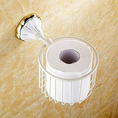SBWYLT-Papel de cobre Europea cesta papel toalla Portarrollos papelera pintura blanca papel tambor Estante baño papel higiénico