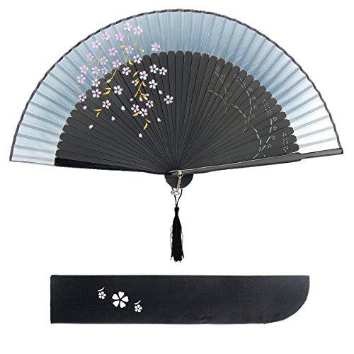 Bambus-stoff-handtaschen (Blütenkirsche Muster Spitze Bambus Faltbar Handfächer für den Sommer Anlässen, Gartenfeste, Hochzeiten im Freien, Tuch Dekoration (Tinte))