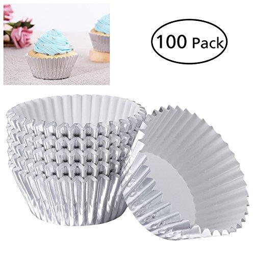 Healifty 100er Silberfolie Cupcake Liner Metallic Papier Backförmchen Muffin Cupcake Liner (Silber)