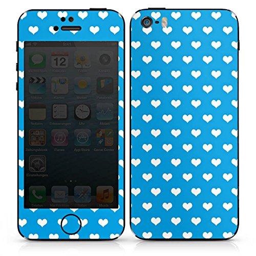 Apple iPhone 5 Case Skin Sticker aus Vinyl-Folie Aufkleber Herz Blau Polka DesignSkins® glänzend