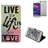 Pour Smartphone Medion Life P5006 Case 360° Cover 'live the life you love' Fonction Stand Wallet BookStyle Housse Protection Sac Étui Couvervle pour Medion Life P5006 meilleur prix, la meilleure performance - K-S-Trade(TM)