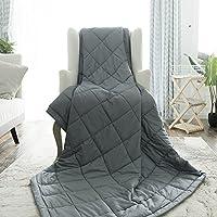 Beschwerte Decke für Erwachsene von buzio (15 lbs für 45-70 kg Personen) perfekt für Entspannung, Einschlafen, schneller und besser, reduziert Stress und Angstgefühle, Autismus,150 x 200 cm, dark grau