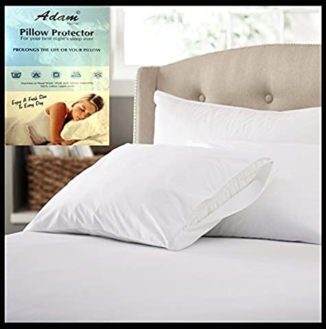 Adam Linens Pack of 4 Pillow Protectors with Zip - 100% Cotton - Machine Washable - Anti-Allergy,