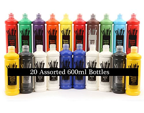 20-large-600ml-bottles-of-ready-mixed-liquid-poster-paint-mixed-bright-colours