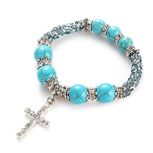 Yazilind Charm Kreuz Perlen Armbänder mit Türkis Armband Tibetische Legierung Armbänder Geschenk für Frauen und Mädchen (blau) - Türkis-perlen Armband Mit