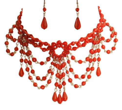 Trachtenschmuck Dirndl Perlencollier Set - Burlesque Kropfkette - rote Perlchen - Kette aus Glas- und Acrylperlen - & Ohrhänger