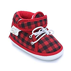CHIU Red Black Chu-Chu Check Pattern Shoes With Lace For 6-12 Months