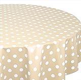 Wachstuchtischdecke OVAL RUND ECKIG Farbe u. Größe wählbar, Tischdecke Wachstuch abwischbar, Punkte (Creme-Beige Oval 140x200 cm)