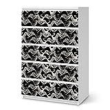 creatisto Dekofolie für Ikea Malm 6 Schubladen (Hoch) | Möbeldekor Klebefolie Sticker Tapete Möbel folieren | Modernes Wohnen Schlafzimmer-Dekoration Innendekoration | Muster Ornament Weißer Kranich