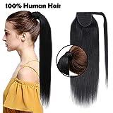 (18'/45cm) Ponytail Extension Naturel Rajout Cheveux Queue de Cheval Extension Noir [Wrap Around Ponytail] [01#Noir Foncé] Sans Shedding/Tangle