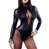 Omkuwl Womens PVC Faux Leather Wet Look Bodysuit Lace Up Teddy Lingeries Plus Size L
