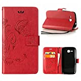 MOONCASE Huawei Y600 Custodia, Farfalla Portafoglio Protettiva in pelle per Huawei Ascend Y600 Bookstyle Snap-on Magnetico Flip Cover Stand Case e Wrist Strap Rosso