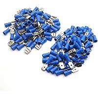 50 terminales de cable macho y hembra con aislamiento AWG, 6,3 mm14 – 16 AWG, color azul