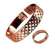 The Online Bazaar Con Estilo Abollada Cuadros Diseño Cobre Magnético Banda Con Acabado Liso Magnético Cobre Anillo combi set de regalo - SMALL RING SIZE : 16-18mm