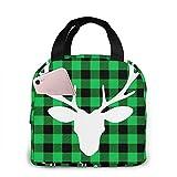 Lunch Bag - Schwarz Grün Buffalo Plaid Moose Tote Handtasche Lunchbox Food Container Cooler Warm...