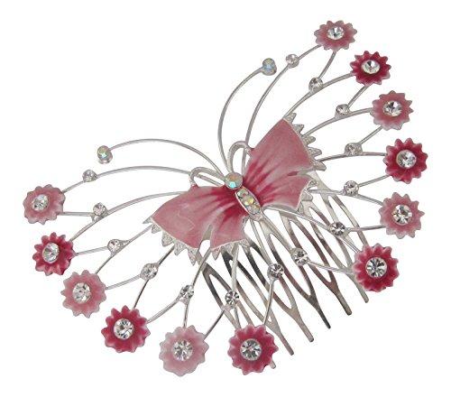 Peigne Cheveux Accessoires cheveux papillon en cristal transparent et émail rose Argent