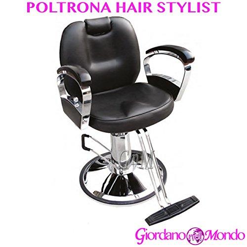 Poltrona barbiere con poggiapiedi a pompa idraulica sedia stylist professionale