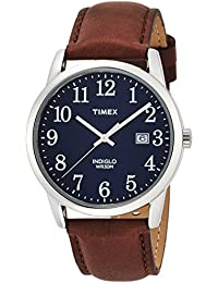 timex watches shop amazon uk timex men s quartz watch blue dial analogue display and brown leather strap