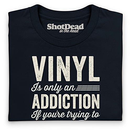Vinyl Addiction Langarmshirt Funny Novelty Gift, Herren Schwarz