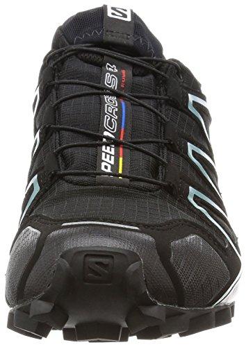 Salomon Speedcross 4, Chaussures de Trail Femme Noir (Black/Black/Metallic Bubble Blue)