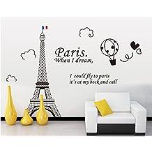 ufengke® Torre Eiffel en París Pegatinas de Pared, Sala de Estar Dormitorio Removible Etiquetas de la Pared / Murales, Negro