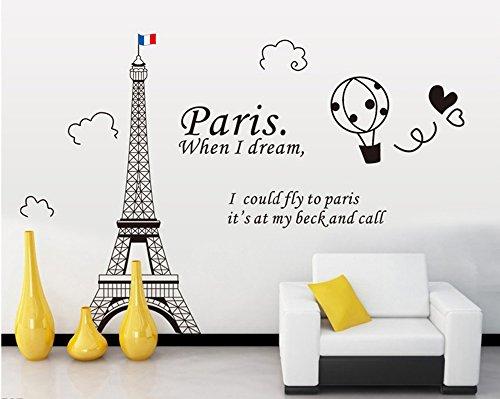 ufengke® Torre Eiffel A Parigi Adesivi Murali, Camera da Letto Soggiorno Adesivi da Parete Removibili/Stickers Murali/Decorazione Murale,