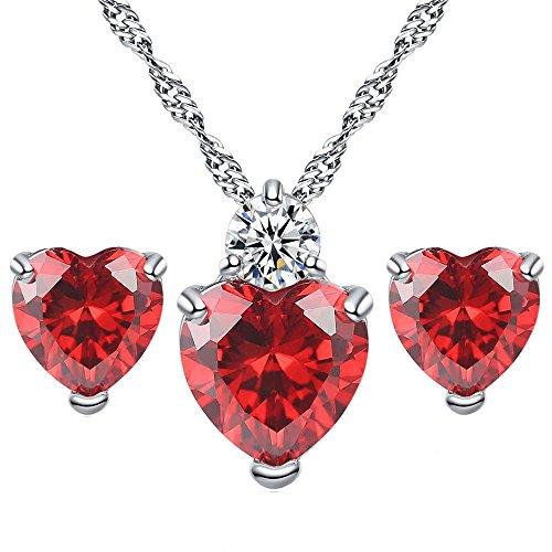 Lialbert Herz-Diamant Modeschmuck Sets,Damen Herzanhänger Kette Rotes Edelsteine Halskette-Ohrringe Geschenk