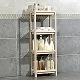 Badezimmer-Regal-Plastikboden-stehendes Bassin-Rahmen-Waschbecken-Speicher-Regal ( Farbe : Beige , größe : 4-tier )