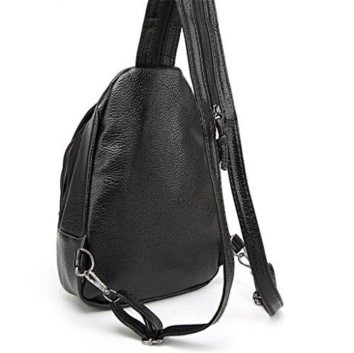 SHFANG Frauen Schulter Rucksack Einfache Brust Tasche Multifunktions Reisetasche Diagonal Spannweite Schwarz 20 * 7 * 30cm , black meter 15 black plaid 16