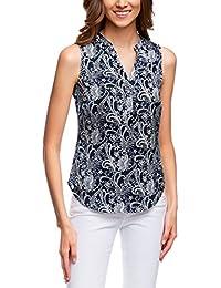oodji Collection Mujer Blusa Estampada con Escote en V