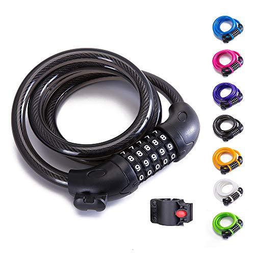 XZSUN Cadena de Bloqueo para Bicicleta, combinación de 5 dígitos, Cable de...