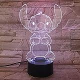 WoloShop Lampara LED Stitch Cambia Color USB Luz Nocturna